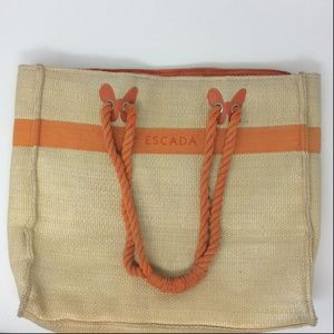 Escada Tan Cream Straw Woven Tote Bag